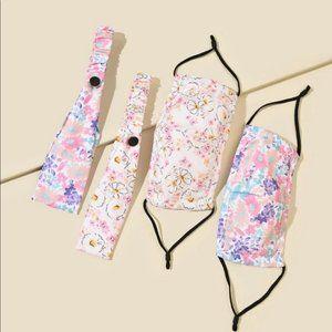 4 pc floral headband and mask sets (2 sets)